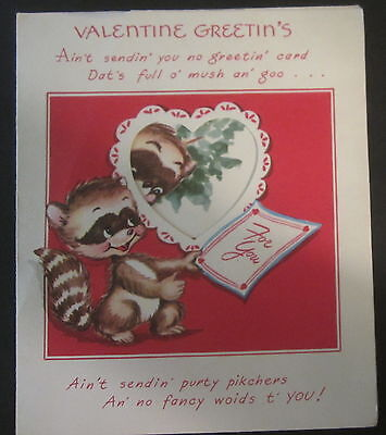 Vintage Valentine Greeting Card Pop-Up Raccoon Up a Tree