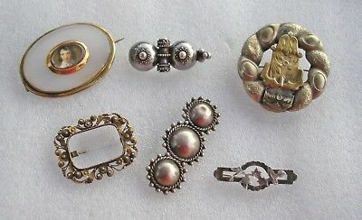 6 beautiful Victorian brooches Silver Gold filled buckles Bird Chalcedony etc