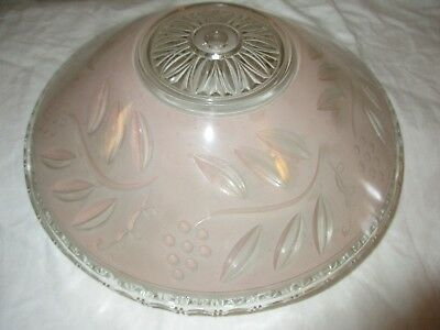 Antique Vintage Pink Frosted Glass Art Deco Flush Mount Ceiling Light Lamp Shade