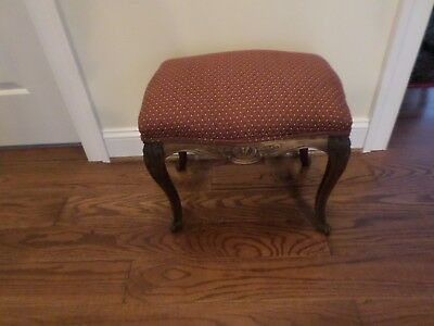 Antique French 19Th C Hand Carved Mahogany Louie Xv Foot Stool-Vg Condition