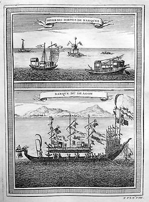 1750 Schiff Boot boat ship Drachen dragon China view Kupferstich antique print