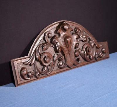 "*21"" French Antique Pediment/Crest/Panel in Chestnut Wood Salvage"