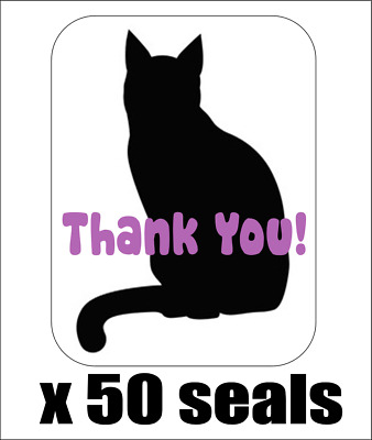 "50 Cat Silhouette Thank You! Envelope Seals / Labels / Stickers, 1"" x 1.5"""