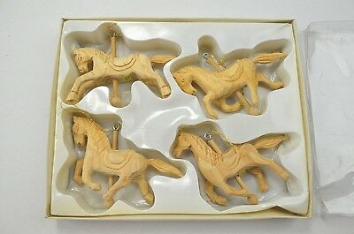 Vtg Wang's Intl Set of 4 New Unpainted Wood Horse Carousel Christmas Ornaments