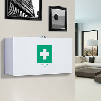 Medical Cabinet First Aid Kit Box Wall mount Lockable Storage Metal White Home