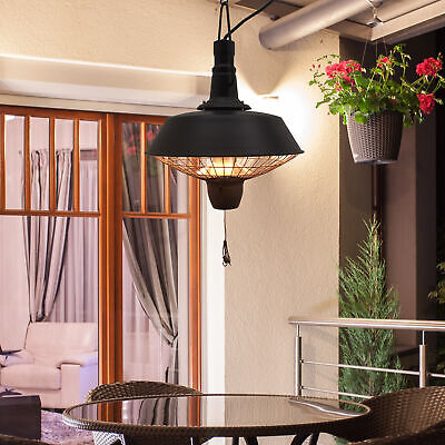 Outdoor Garden Patio Hanging Electric Heater Warmer Halogen Heating Balck 2100W