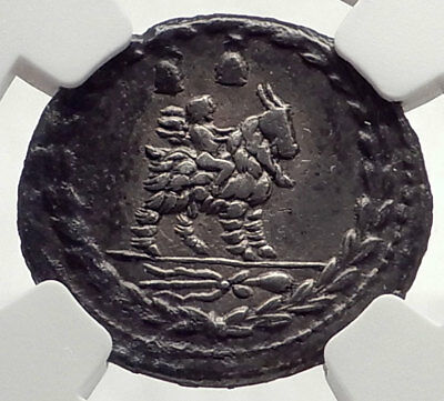 Roman Republic 85BC Ancient Silver Coin VEJOVIS Genius Zeus Mom Goat NGC i71031