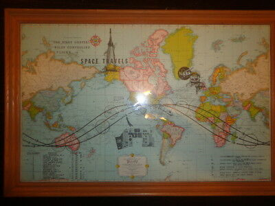 Nasa First Orbital Pilot Controlled Flight World Map John Glenn Nov. 20th 1962