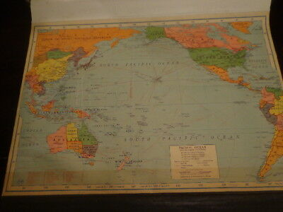 1942 WWII Era Classroom Pull Down Map Pacific Ocean & Adjacent Countries