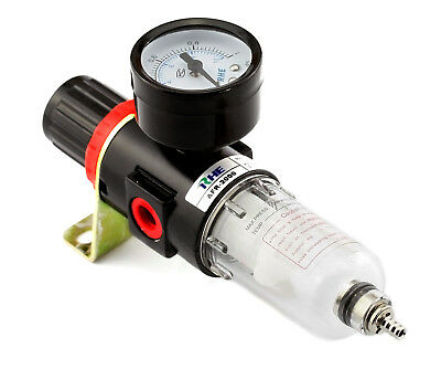 Pneumatic Air Filter Regulator Moisture Trap Pressure Gauge Compressors 1/4""