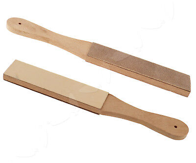 Wooden Handle Sharpening Strop For Razors Cow Leather Polish Sanding Compound