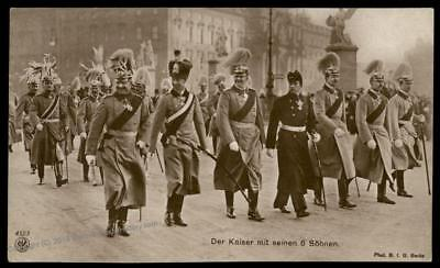 German Empire WWI Kaiser Wilhelm II and 6 Sons RPPC 79781