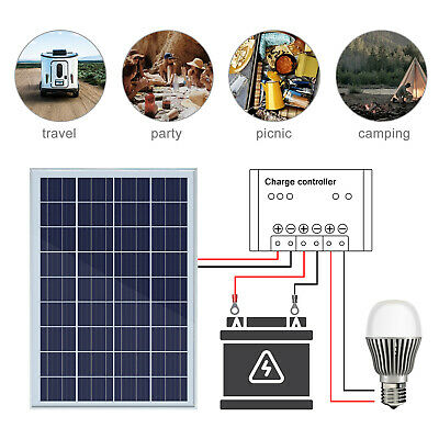 25Watt Solar system : 25W Solar Panel + Cable & 3A Controller+Extension cable US