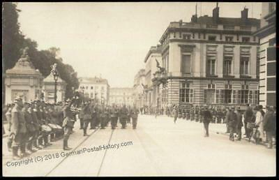 Germany WWI Army Parade Occupied Brussels Belgium   RPPC 64299