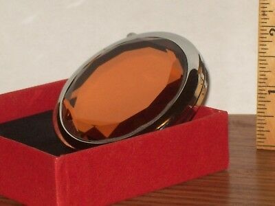 Shiny-Silver-Toned-Folding-Cosmetic-Compact-Double-Mirror-Bejeweled-Orange-Top