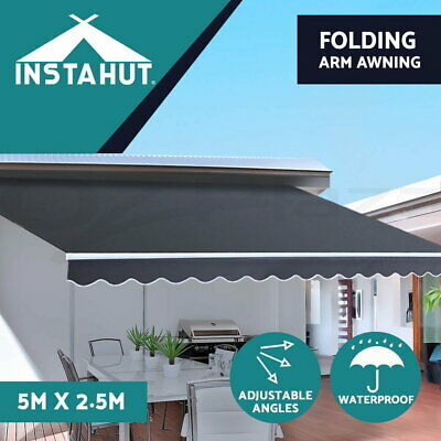 Instahut 5M x 2.5M Outdoor Folding Arm Awning Retractable Sunshade Canopy Grey