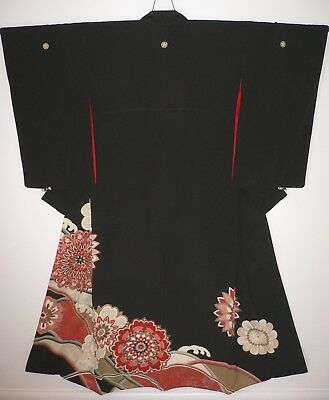 1940s RARE JAPANESE VINTAGE SILK HAND CRAFTED TOMESODE KIMONO Embroidered Flower