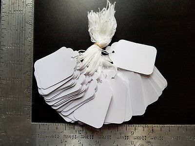 1000 Blank White Merchandise Price Tags with Strings Size #8 Retail Strung Label
