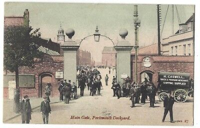PORTSMOUTH Dockyard, Main Gate, Old Postcard by Welch Postmarked Portsmouth 1906
