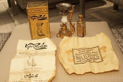 Antique Vapo Cresolene Lamp With Original Box And Instructions - Quack Medicine