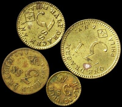 Antique John Maris Apothecary Weight Tokens -Drachms, Half Scruple & More