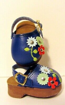 "NAVY BLUE Floral Doll Shoes Clogs Fits 18"" American Girl Clothes"