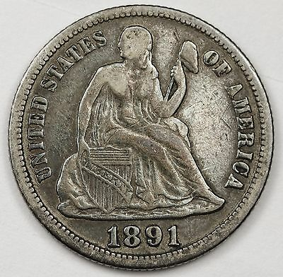 1891-s Liberty Seated Dime.  V.F.  102475
