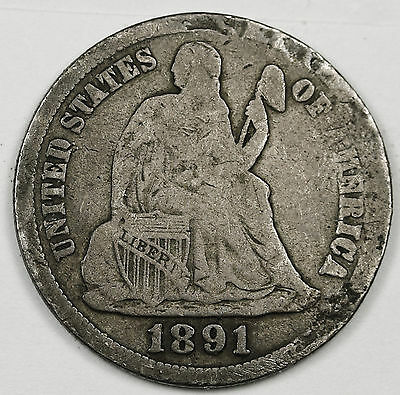 1891-s Liberty Seated Dime.  Circulated.  95615