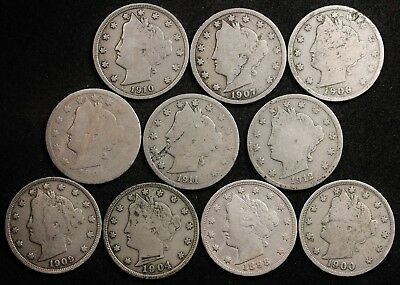 10 Liberty Nickels Error All planchet defects/strike overs 10 diff dates. 127506