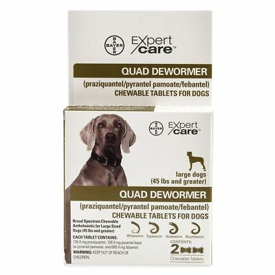Bayer Expert Care Broad Spectrum Quad Dewormer Large Dogs 2 Tablets Made In Usa