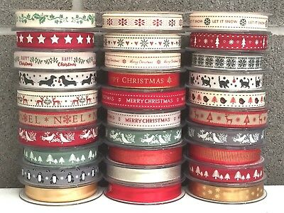 Selection Berisfords Ribbon Craft Gift Wrapping Wedding Red Gold Green Ribbons