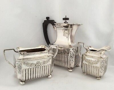 Rare Antique Victorian ELKINGTON & Co Repousse Silver Plated Tea Set C1890