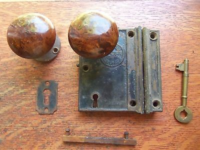 Antique Rustic Iron Rim or Box Lock & Brown Doorknobs Set P. & W. Co. Pat.1866