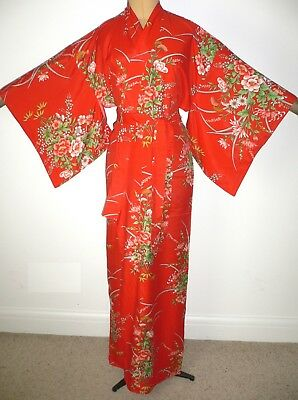 RARE UNUSED 1970s TALL, VINTAGE JAPANESE, KIMONO STYLE, SILKY DRESSING GOWN ROBE