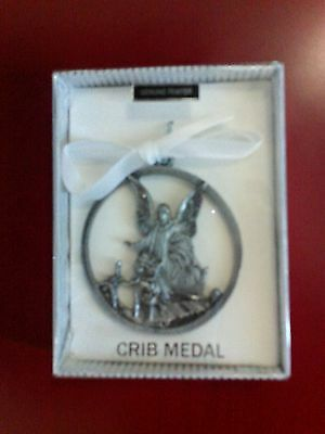 MEDAL PEWTER crib baby ANGEL baptism christening gift pink, blue, or white NEW