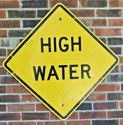 Vintage Metal Street Sign HIGH WATER Large 24-inch Road Sign Metalware Decor Old