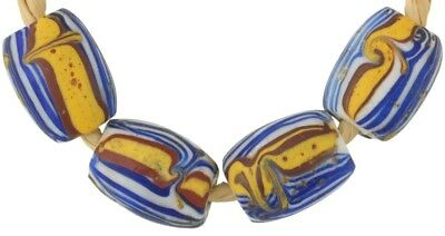 Old African trade beads oval Fancy Venetian glass beads wound lampwork rare