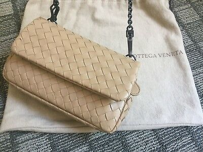 Bottega Veneta AUTH Gunmetal Chain Walnut Intrecciato Leather Mini Messenger 1b2e9e9e11398