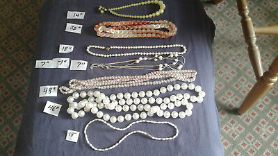 Vintage Mom's Lot BB Costume Jewelry Beads Baubles Pearl-type necklaces chokers
