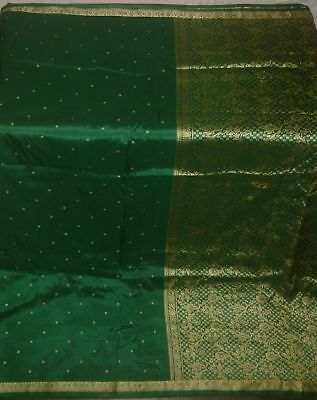 Antique Vintage Green Color Weaving Woven Fabric Pure Silk Sari Saree