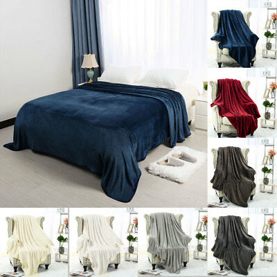 Soft Plush Flannel Fleece Blanket Warm Lightweight Throw Bed Single Queen King