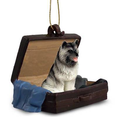 Keeshond Traveling Companion Dog Figurine In Suit Case Ornament