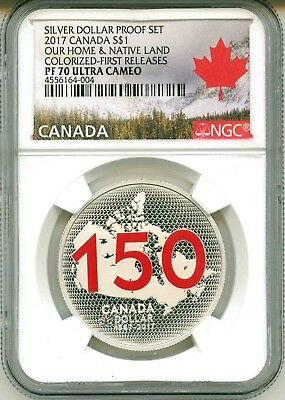 2017 Canada S$1 Silver Proof Set Our Home & Native Land Colorized FR NGC PF70 UC