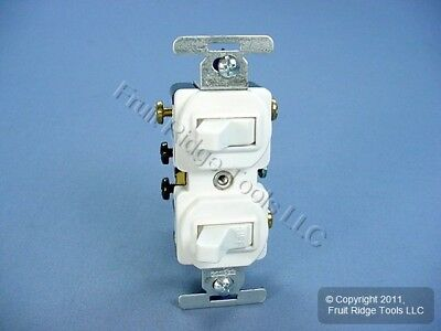 New Cooper Electric COMMERCIAL White DOUBLE Switch Duplex Toggle 15A 275W Boxed