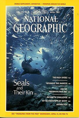 £1.99  NATIONAL GEOGRAPHIC Apr 1987 POLLUTION AMAZON ANDES KAYAKS SEALS