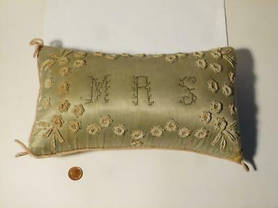 Antique late 18thC Straw Filled Silk Pin Cushion Pillow Shape Initials MRS