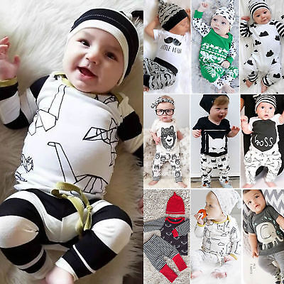 Newborn Baby Boys Girls Romper Tops T Shirt + Pants Bodysuit Jumpsuit Outfit Set
