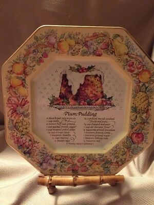 Vintage Avon Tin Tray Plum Pudding Recipe England 1982