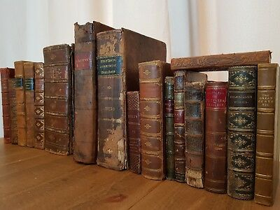 19th Century ANTIQUARIAN BOOK JOBLOT Collection LEATHER Calf GILT Antique OLD 2