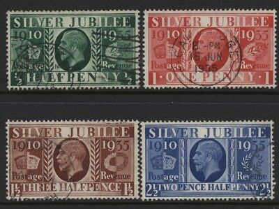 1935 ½d-2½d SILVER JUBILEE SET OF FOUR VERY FINE USED. SG 453-6